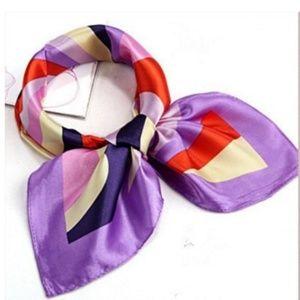 "🌿 20"" Square Scarf Neckerchief Purple Rainbow"